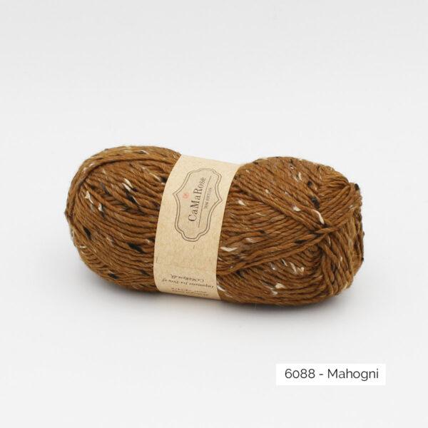 A ball of CaMaRose Lama Tweed in the Mahogni colorway (Mahogany)