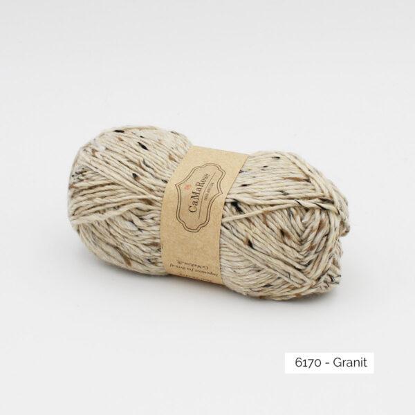 A ball of CaMaRose Lama Tweed in the Granit colorway (cream)