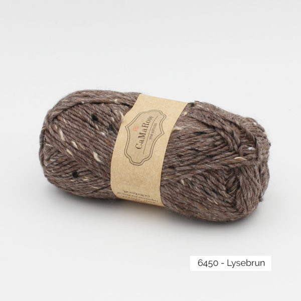 A ball of CaMaRose Lama Tweed in the Lyse Brun colorway (medium cold brown)
