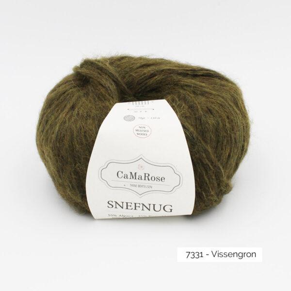 Une pelote de Snefnug de CaMaRose, coloris Vissengron (vert olive)