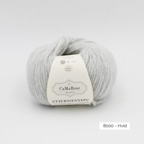 Une pelote de Stjernestov de CaMaRose coloris Hvid (blanc avec paillettes argent)