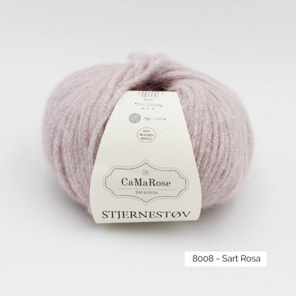 Une pelote de Stjernestov de CaMaRose coloris Sart Rosa (rose pâle avec paillettes argent)