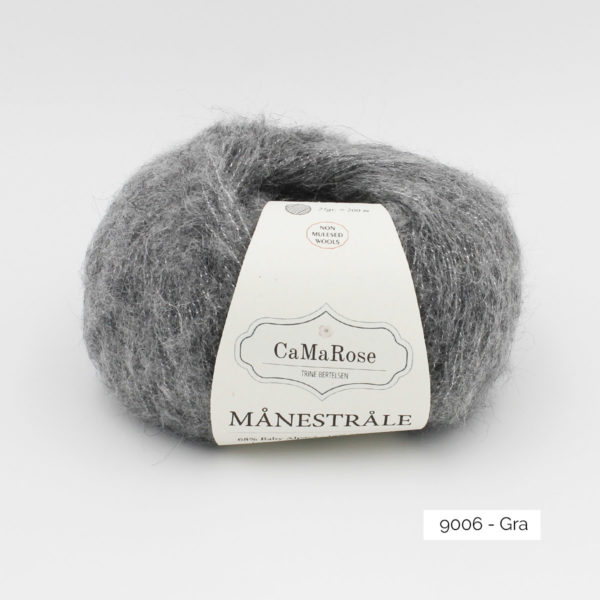 A ball of CaMarose Manestrale in the Gra colorway (medium grey)