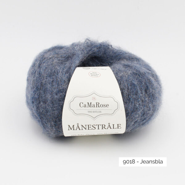 A ball of CaMarose Manestrale in the Jeans Bla colorway (blue jeans)