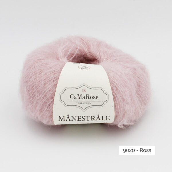 A ball of CaMarose Manestrale in the Rosa colorway (light cold pink)