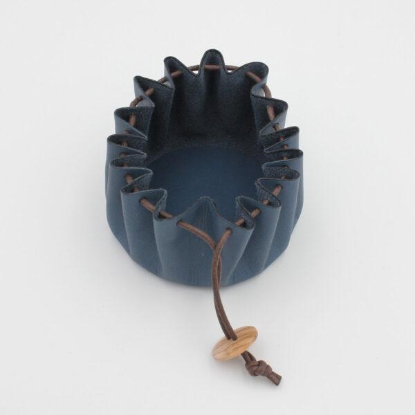 Cohana's blue Himeji leather purse, shown opened