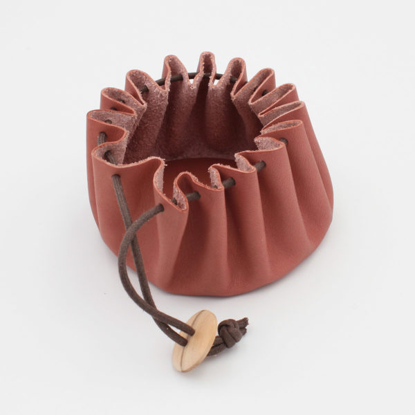 Cohana's pink Himeji leather purse, shown opened