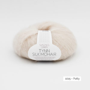 A ball of Sandnes Garn's Tynn Silk Mohair in the Putty colorway