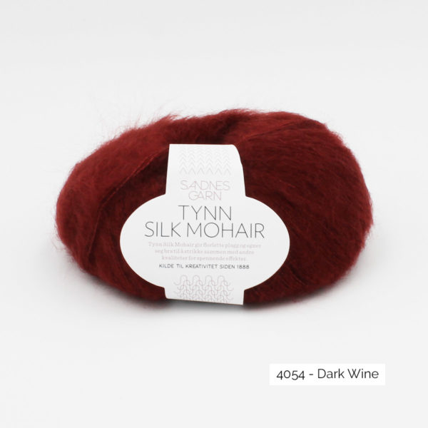 A ball of Sandnes Garn's Tynn Silk Mohair in the Dark Wine colorway