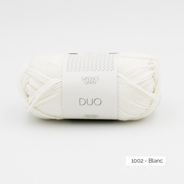 A ball of Sandnes Garn Duo in the White colorway