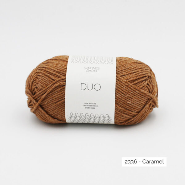 A ball of Sandnes Garn Duo in the Caramel colorway