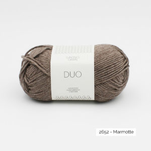 A ball of Sandnes Garn Duo in the Marmotte colorway
