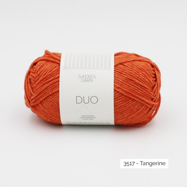 A ball of Sandnes Garn Duo in the Tangerine colorway