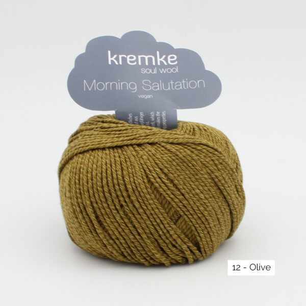 A ball of Kremke's Morning Salutation in the Olive colorway