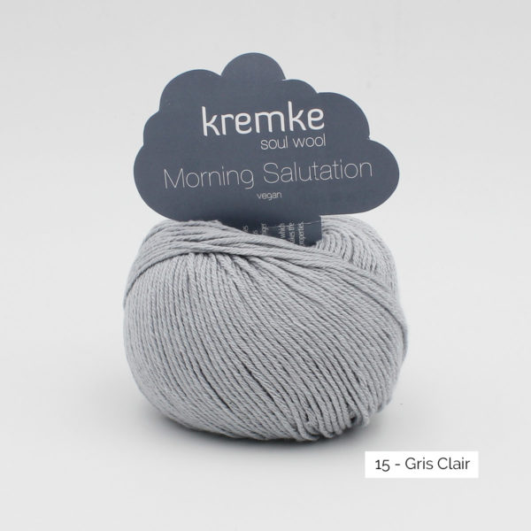 A ball of Kremke's Morning Salutation in the Gris Clair colorway (light grey)