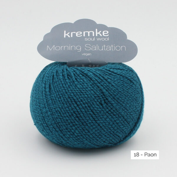 A ball of Kremke's Morning Salutation in the Paon colorway (peacock blue)