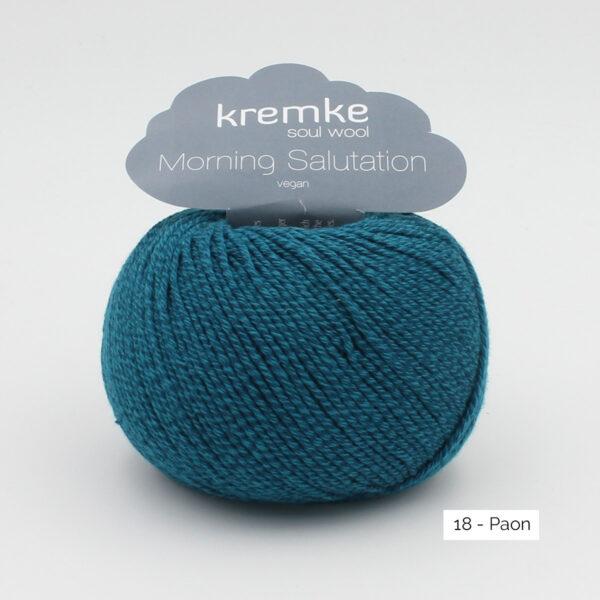 Une pelote de Morning Salutation de Kremke Soul Wool coloris Paon