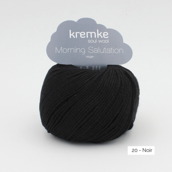 A ball of Kremke's Morning Salutation in the Noir colorway (black)