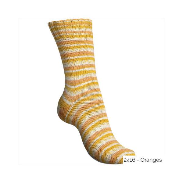 Exemple d'une chaussette tricotée avec le coloris Oranges de la gamme Tutti Frutti Cotton de Regia