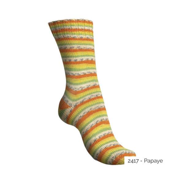 Exemple d'une chaussette tricotée avec le coloris Papaye de la gamme Tutti Frutti Cotton de Regia