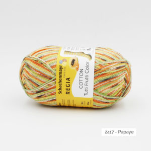 Une pelote de fil à chaussettes Regia coloris Papaye de la gamme Tutti Frutti Cotton