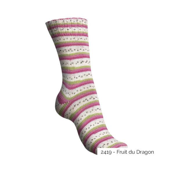 Exemple d'une chaussette tricotée avec le coloris Fruit du Dragon de la gamme Tutti Frutti Cotton de Regia