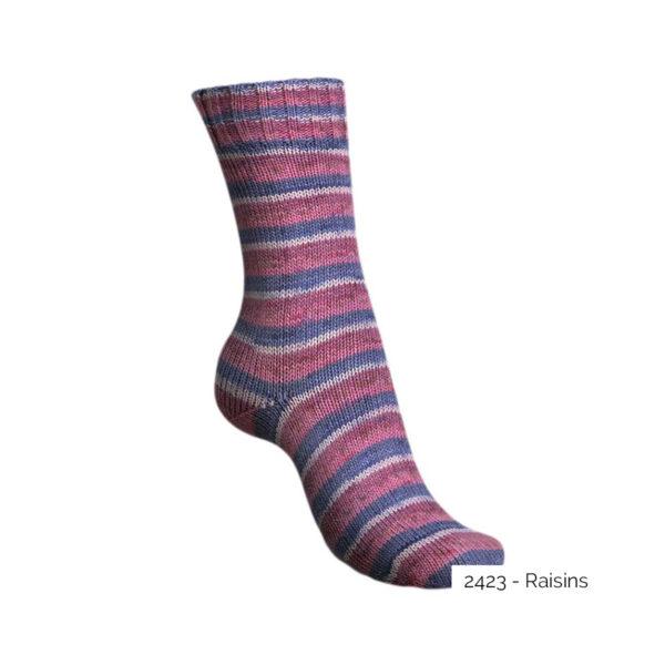 Exemple d'une chaussette tricotée avec le coloris Raisins de la gamme Tutti Frutti Cotton de Regia