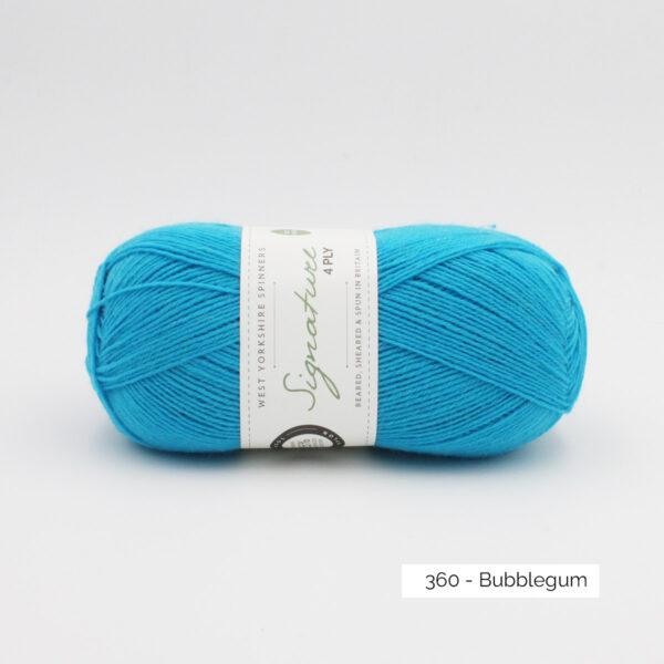 Pelote de Signature de West Yorkshire Spinners coloris Bubblegum (bleu turquoise clair vif)