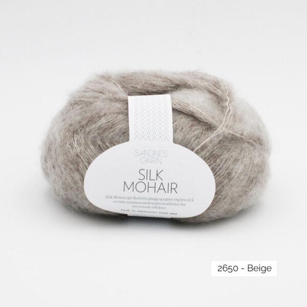 A skein of Sandnes Garn Silk Mohair, in the Beige colorway