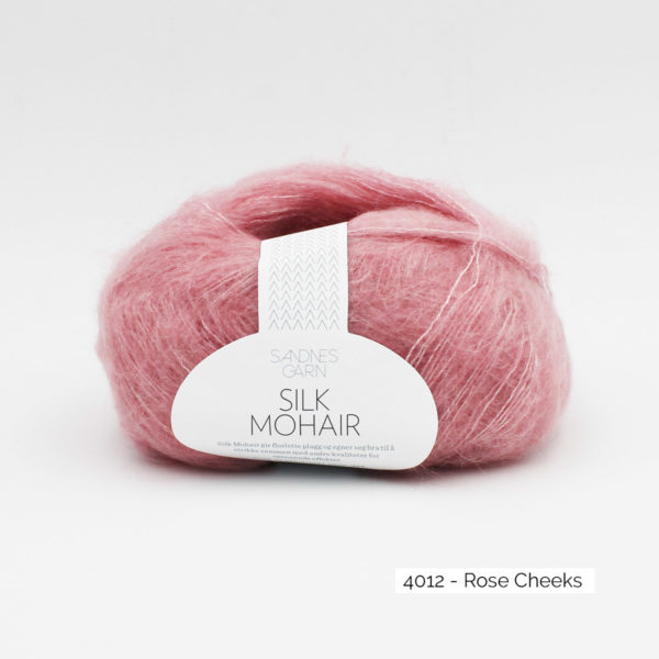 A skein of Sandnes Garn Silk Mohair, in the Rose Cheeks colorway