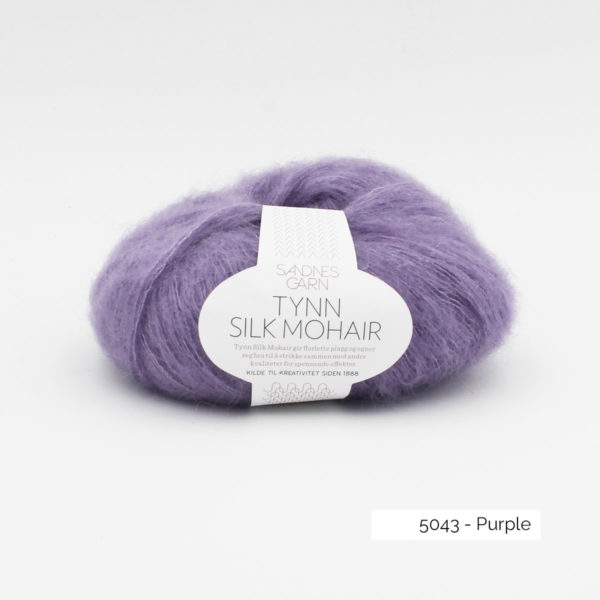 A ball of Sandnes Garn's Tynn Silk Mohair in the Purple colorway