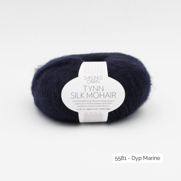 A ball of Sandnes Garn's Tynn Silk Mohair in the Dyp Marine colorway