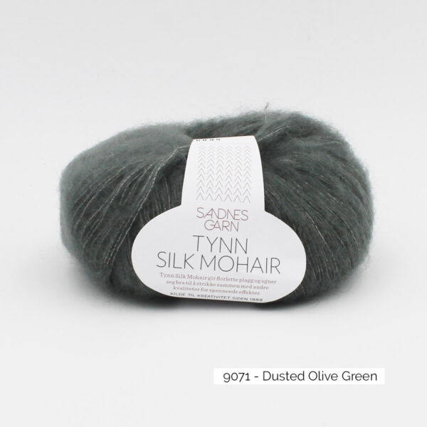 A ball of Sandnes Garn's Tynn Silk Mohair in the Dusty Olive Green colorway