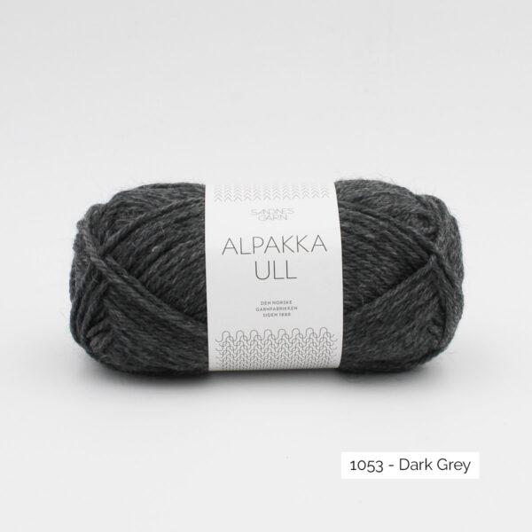 One skein of Sandnes Garn Alpakka Ull on a white background, in the Dark Grey colorway