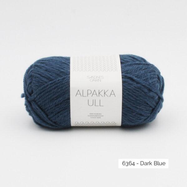 One skein of Sandnes Garn Alpakka Ull on a white background, in the Dark Blue colorway
