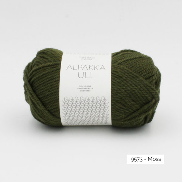 One skein of Sandnes Garn Alpakka Ull on a white background, in the Moss colorway