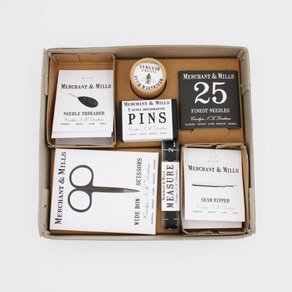 Display of the Merchant & Mills' sewing set, in its box, each element in its own individual box and compartment