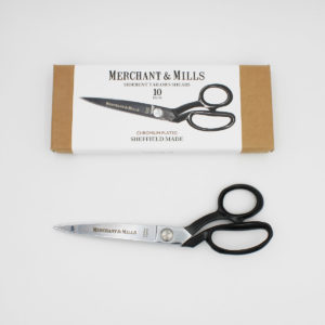 "Merchant & Mills tailor shears, 20 cm (8"") long, with a black coated handle, displayed next to their box"