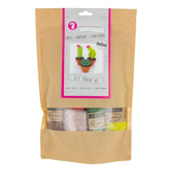 Hardicraft cactus crochet kit in its packaging