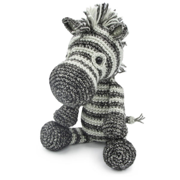 Crocheted black and white zebra, to be made with a Hardicraft crochet kit