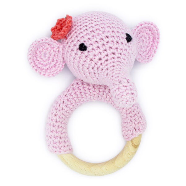 Crocheted pink elephant head rattle, to be made with a Hardicraft crochet kit