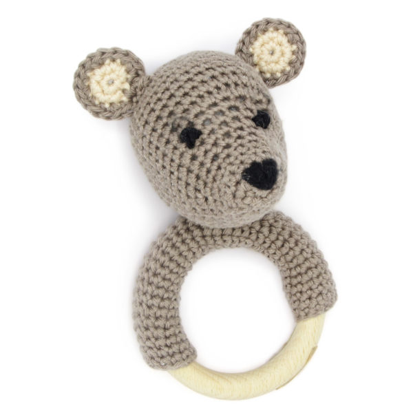 Crocheted teddy bear brown and beige head rattle, to be made with a Hardicraft crochet kit