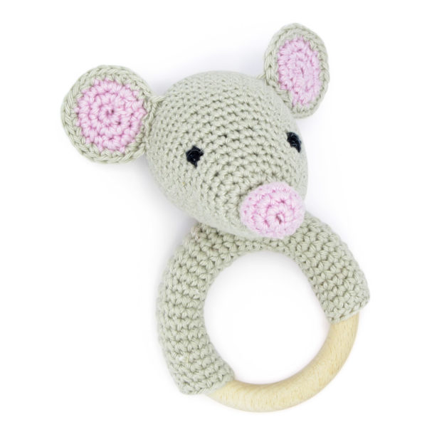 Crocheted mouse grey and pink head rattle, to be made with a Hardicraft crochet kit