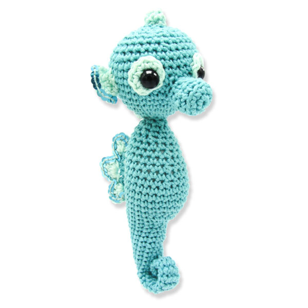 Crocheted light turquoise Sea Horse with sequins, to be made with a Hardicraft crochet kit