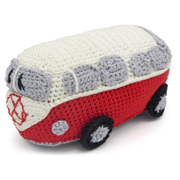 Crocheted red and white VW-style van, to be made with a Hardicraft crochet kit