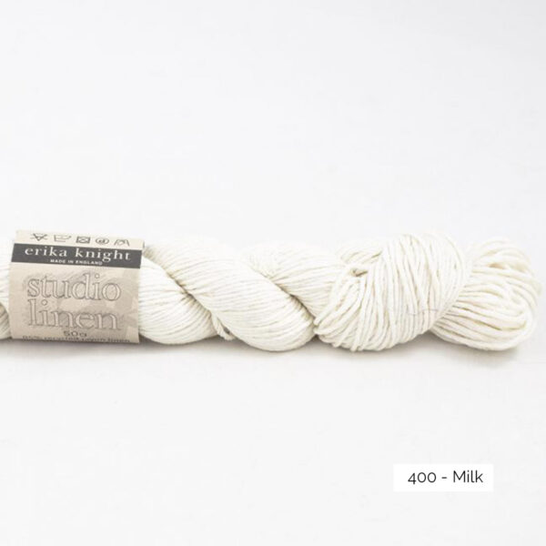 One skein of Studio Linen by Erika Knight in the Milk colorway (white)