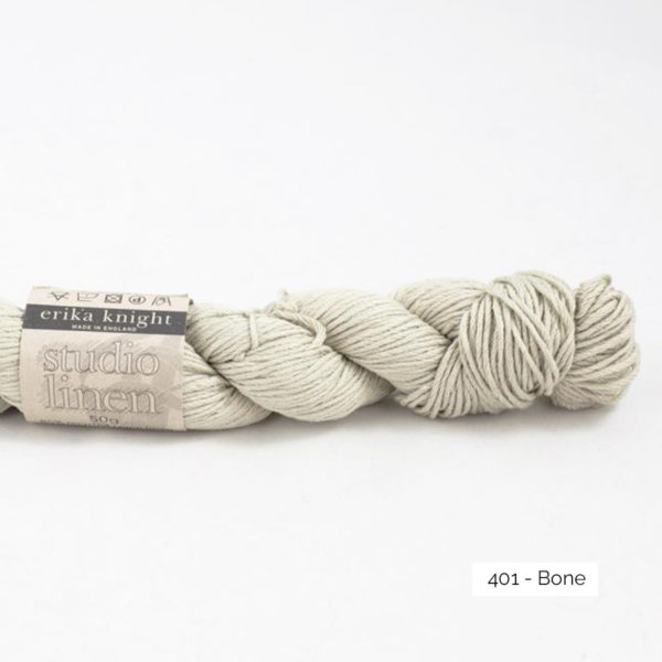 One skein of Studio Linen by Erika Knight in the Bone colorway (off white)