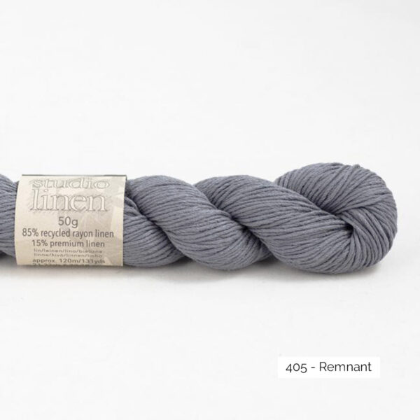 One skein of Studio Linen by Erika Knight in the Remnant colorway ( medium grey)