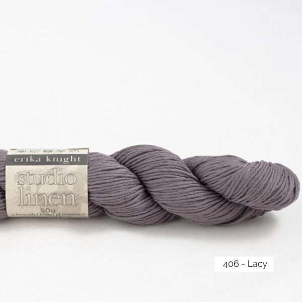 One skein of Studio Linen by Erika Knight in the Lacy colorway (greyish purple)