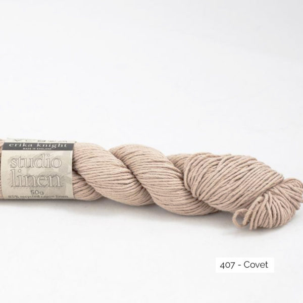 One skein of Studio Linen by Erika Knight in the Covet colorway (light pink)